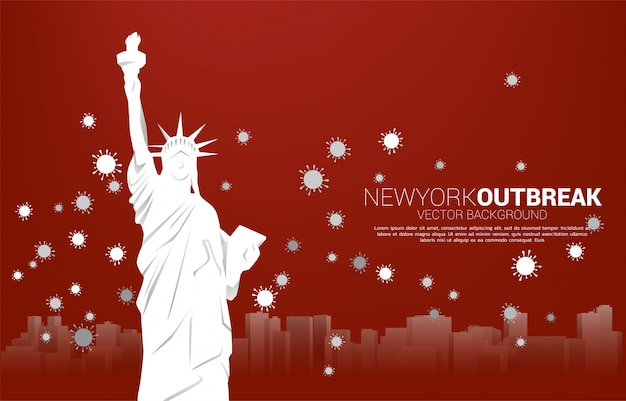 Statue of liberty and panorama city and particle of corona virus background. concept for america outbreak and pandemic.
