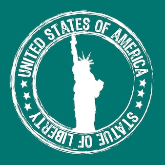 Statue of liberty stamp isolated