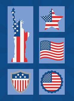 Statue of liberty and usa labels
