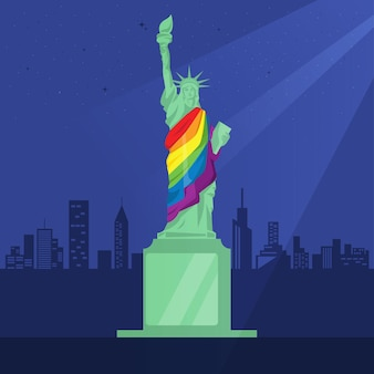 The statue of liberty wears a rainbow robe
