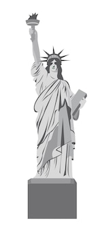 Statue of liberty over white background, vector illustration