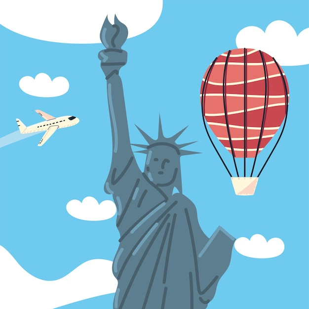 Statue of liberty with air balloon