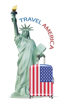Statue of liberty with america usa flag luggage