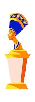 Statue of nefertiti, queen woman pharaoh of ancient egypt, cartoon vector illustration