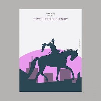 Statue of Boliva New York, USA Landmark Poster