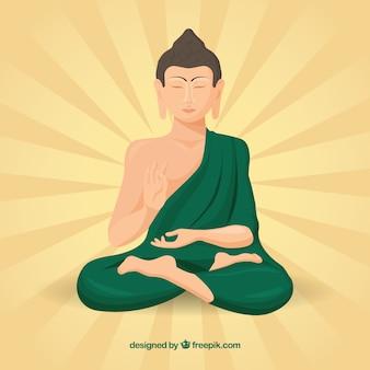 Статуя будды фон в плоском стиле