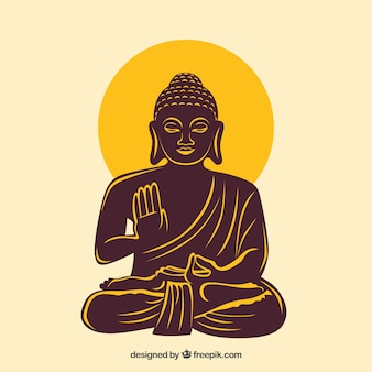 Statue of buddha in hand drawn style