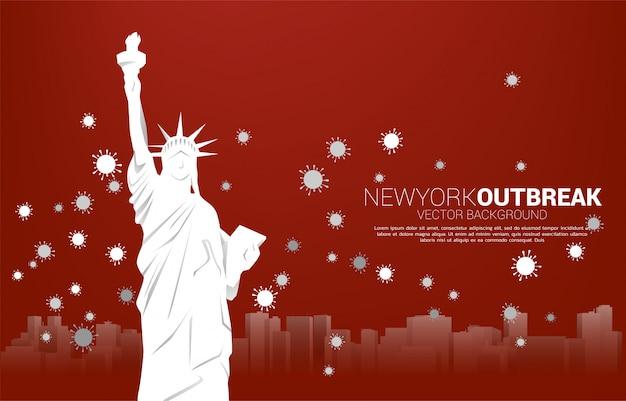 Статуя свободы и панорама города и частицы фона вируса короны. концепция вспышки и пандемии в америке.