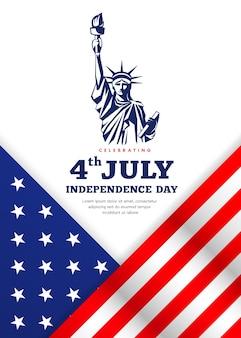 흰색 바탕에 미국 독립 기념일 포스터 디자인의 자유 축하 깃발의 동상