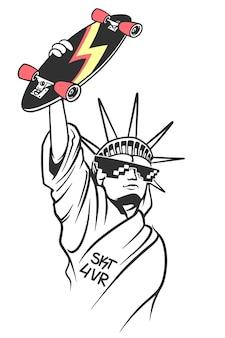 자유의 여신상은 손에 스케이트, 스케이트 보드 인쇄술, 티셔츠 그래픽을 들고 있습니다.