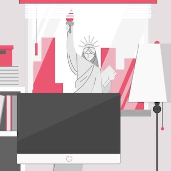 Национальный памятник статуя свободы нью-йорк пейзаж из офисной комнаты