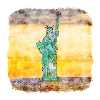 Статуя свободы нью-йорк акварельный эскиз рисованной иллюстрации