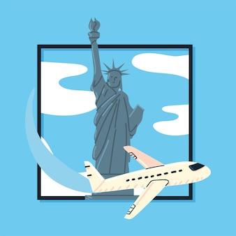 자유의 여신상 뉴욕 비행기