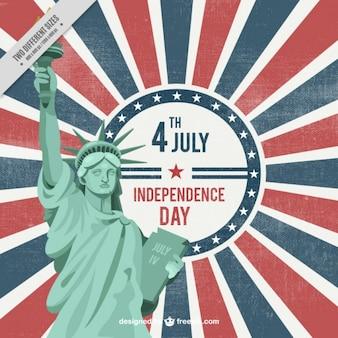 미국 국기 빈티지 배경에 자유의여 신상