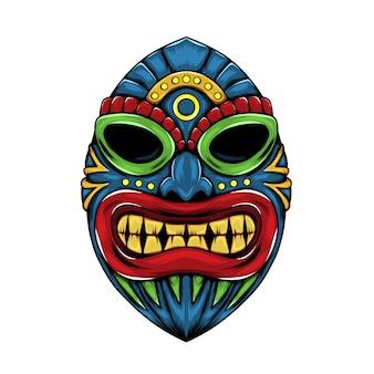 青い色と赤い唇の顔をしたティキ島の像 Premiumベクター