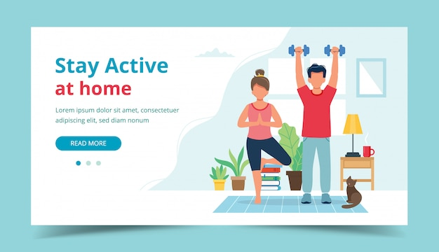 Stay active at home concept. people doing exercise in cozy modern interior