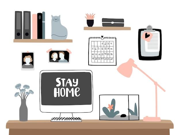 집에 머물면서 일하십시오. 홈 오피스 용 노트북 컴퓨터 책상