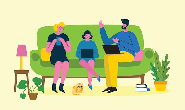 Оставайся и работай дома. родители и ребенок дома и используют цифровые устройства.