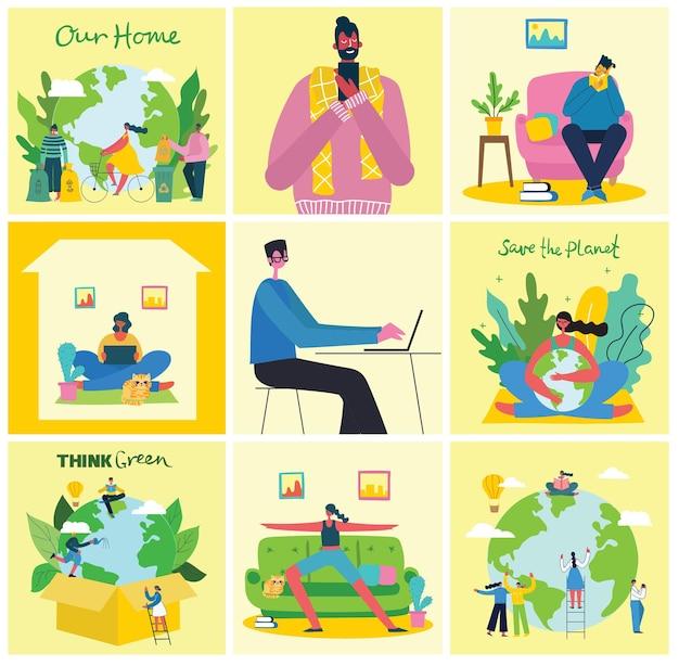 Пребывание и работа дома люди остаются и работают дома в плоском стиле
