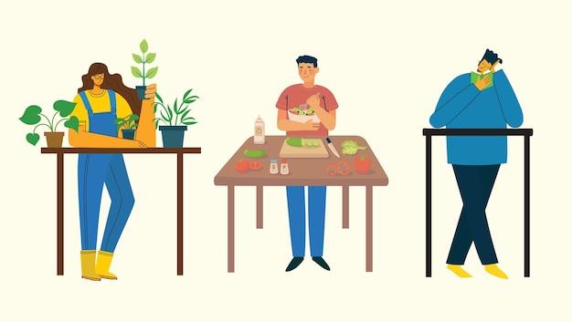 在宅勤務。家にいる人々は、料理、ガーデニング、家での読書など、さまざまな活動をしています。カラフルでモダンなイラストのコラージュ