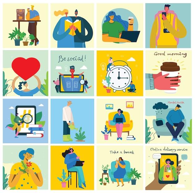 在宅勤務。家にいてさまざまな活動をしている人々:ソファに座る、ジャンプする、仕事をする、祝う、遊ぶ、スポーツをする、家で読む。フラットスタイルのカラフルでモダンなイラストのコラージュ。