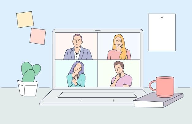 在宅勤務。ビデオ会議のイラスト。インターネットで話している人々のグループ。