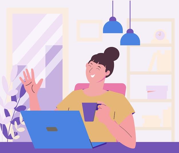 집에서 머물며 일하십시오. 화상 회의. 친구 및 동료와 원격 통신. 직장. 소녀 프리랜서는 집에서 일합니다.