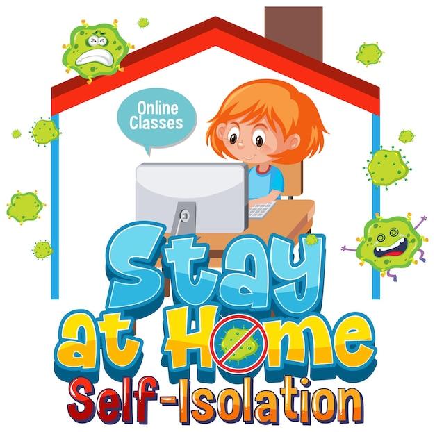 Оставайтесь дома и самоизоляция баннер с мультипликационным персонажем работает из дома