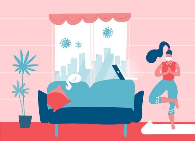 在宅啓発ソーシャルメディアキャンペーンとコロナウイルス対策。自宅でヨガを行う若い女性。ノートパソコンでのオンラインレッスン。フラットイラスト