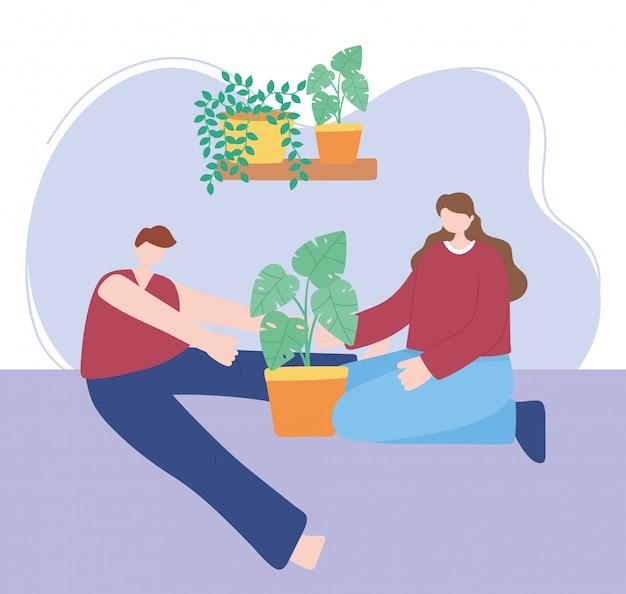 집에서 지내십시오, 소년과 소녀는 코로나 바이러스 검역소에서 관엽 식물, 자기 격리, 활동을 돌 봅니다.