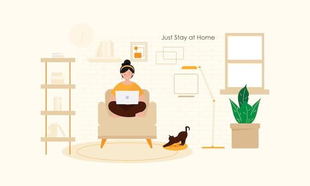 Оставайтесь дома концепции плоский дизайн иллюстрация