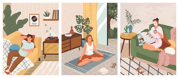 Оставайтесь дома концепции дизайна иллюстрации