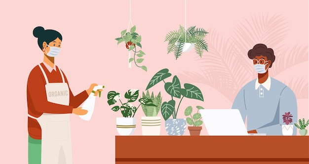 Оставайтесь дома концепции, мужчина работает на компьютере и женщина поливает комнатные растения