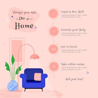 Оставайтесь дома, концепция с вещами, чтобы сделать