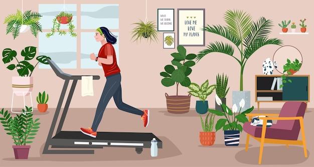 집에 머물 개념, 실내 식물로 장식 된 거실에서 러닝 머신에서 실행하는 젊은 여성