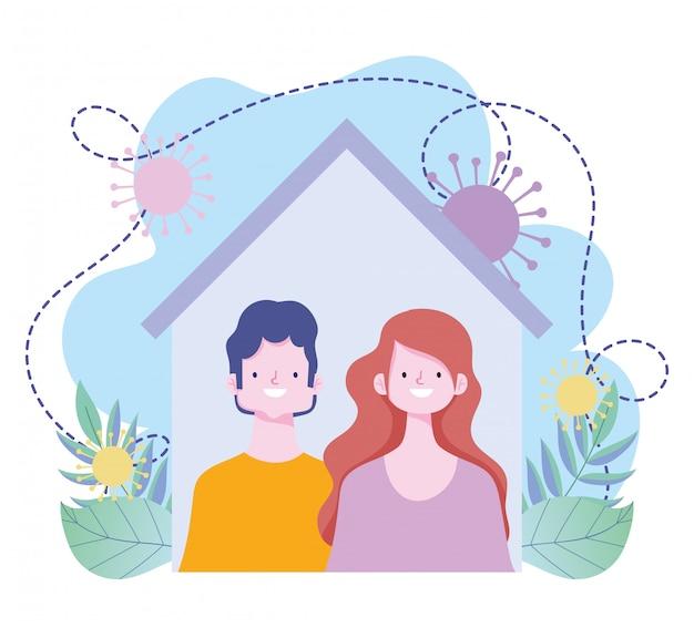 Оставайтесь дома, пара вместе в доме профилактики вспышки коронавируса