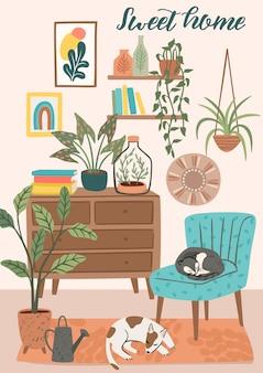 Останься дома. уютный интерьер комнаты. иллюстрации.