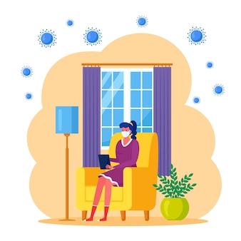 コロナウイルスのパンデミックの間、家にいるようにしましょう。フリーランサーはハウスオフィスで働いています。隔離、隔離期間のコンセプト。ノートパソコンと肘掛け椅子に座っている女性。医療フェイスマスクの女の子。フラットデザイン