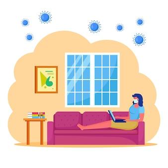 Оставайтесь дома во время пандемии коронавируса. фрилансер работает из домашнего офиса.