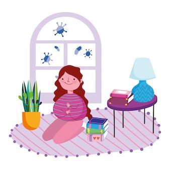 Сиди дома, девушка на коленях на ковре с книгами в комнате