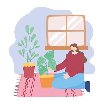 집에서 지내십시오, 소녀는 코로나 바이러스 검역소에서 관엽 식물, 자기 격리, 활동을 돌 봅니다.