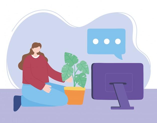 코로나 바이러스 검역소에서 집에서 노트북으로 소녀와 집 식물, 자기 격리, 활동을 돌보아줍니다.