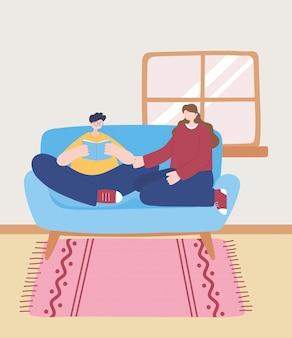 코로나 바이러스 검역소에서 소녀, 자기 격리, 활동이있는 소파에서 집에서 책을 읽는 사람