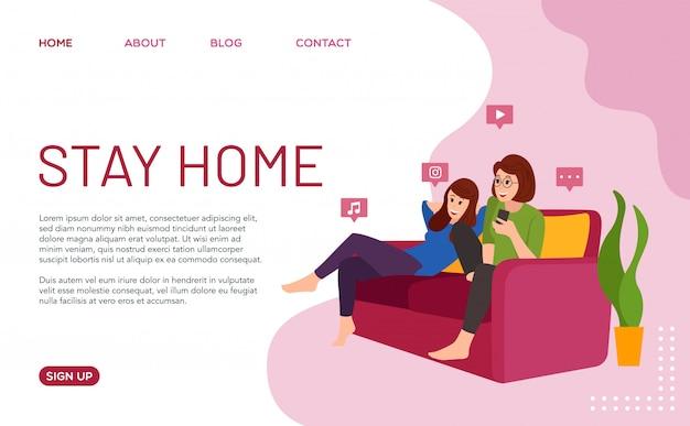 Останься дома. иллюстрация семьи, которая осталась в доме во время пандемии вируса ковид-19