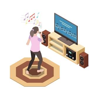 Tv 세트 삽화에서 노래방을 부르는 여성 캐릭터와 함께 집 아이소메트릭 구성에 머물다