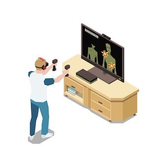 비디오 게임 슈터 일러스트레이션을 하는 인간 캐릭터와 함께 집 아이소메트릭 구성에 머물기