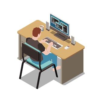컴퓨터 그림에서 프로그래밍하는 테이블에 앉아 있는 남성 캐릭터와 함께 집 아이소메트릭 구성에 머물기