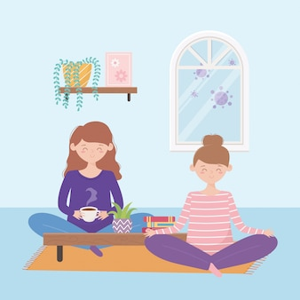 Сиди дома, беременная женщина и девушка сидят на полу