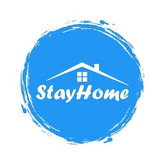 집에 있어라 스티커. 팬데믹 기간 동안 집에 있으십시오. 파란색 스티커에 가정 격리 레터링 그림입니다.
