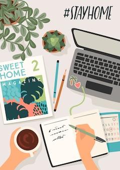 Останься дома. женщина пишет в дневнике, работает дома. иллюстрации.